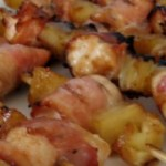 Grillede kyllingespyd med bacon