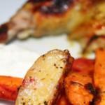 Kylling med ristede rodfrugter og tzatziki